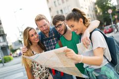 Young students on a travelling adventure. Happy young students on a travelling adventure Royalty Free Stock Photos