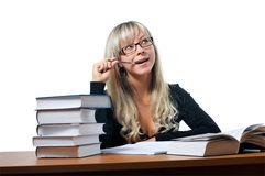 Young study female. On white royalty free stock photo