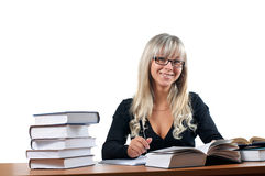 Young study female. On white royalty free stock images