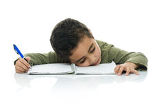 Young Studying Boy Tired Stock Image