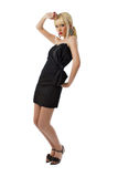 Young stunning blonde girl in black little dress Royalty Free Stock Photography