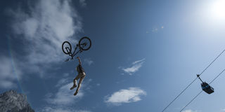 Young stunt dirt biker looses control over his bic Stock Photography