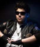Young stylish biker stock image