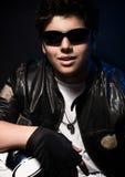 Young stylish biker Royalty Free Stock Image