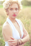 Young stylish blonde woman portrait Royalty Free Stock Images