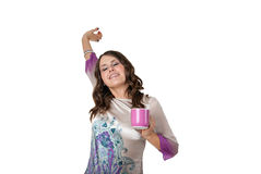Young stylish brunette stretching after waking up Royalty Free Stock Image