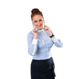 Young stylish business woman with glass Royalty Free Stock Images