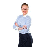 Young stylish business woman with glass Royalty Free Stock Photography