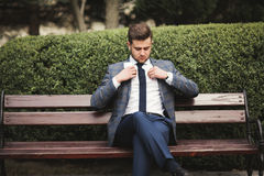Young stylish businessman adjusting his suit, neck tie Stock Photos