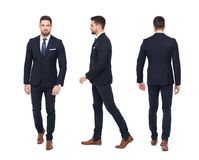 Young stylish businessman front rear side view isolated Stock Image