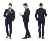 Young stylish businessman using tablet front, side, rear view is. Young stylish caucasian businessman using tablet front, side, rear view, isolated on white Stock Photography