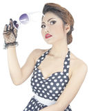 Young stylish caucasian woman posing retro styling Stock Photography