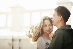Young stylish couple hugging on the street Royalty Free Stock Photos