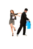 Young stylish couple with shopping bags Stock Photography