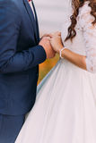 Young stylish dressed newlyweds holding their hands together in devotion Royalty Free Stock Photography