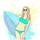 Young stylish girl on the beach with a surfboard. Summer rest. Vector illustration. Royalty Free Stock Images