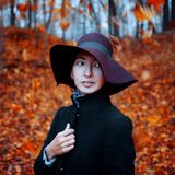 Young stylish girl in coat and hat, autumn clothing, the portrait on the background of yellowing leaves Stock Photos