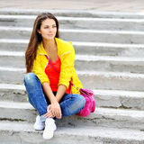Young stylish girl portrait outdoors Royalty Free Stock Image