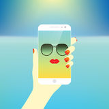 Young stylish girl taking self photo icon. Selfie. vector illustration