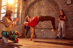 Stylish male break dancer performing moves royalty free stock images