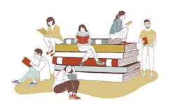 Young stylish male and female readers dressed in trendy apparel sitting on stack of giant books or beside it and reading. Literature fans or lovers. Colored vector illustration