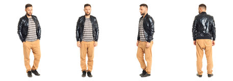 Young stylish man in a black jacket isolated on white Royalty Free Stock Photos