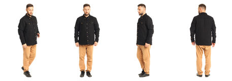 Young stylish man in a black jacket isolated on white Royalty Free Stock Photography