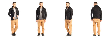 Young stylish man in a black jacket isolated on white Royalty Free Stock Image
