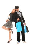Young stylish man and girl shopping. Young happy stylish couple going for shopping Stock Photography