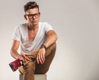 Young stylish man looking away while standing Stock Image