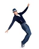 Young stylish man is showing dance moves on white Royalty Free Stock Photos