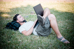 Young stylish man using notebook Stock Photography