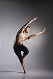 Young and stylish modern ballet dancer. On grey background Royalty Free Stock Photos
