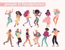 Free Young Stylish People Listening To Music In Headphones And Earphones Isolated. Multiethnic Group. Stock Photography - 164133362