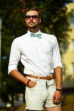 Young stylish sexy handsome model man in casual cloth lifestyle Stock Images