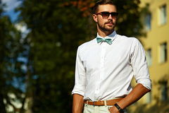 Young stylish sexy handsome model man in casual cloth lifestyle Royalty Free Stock Image