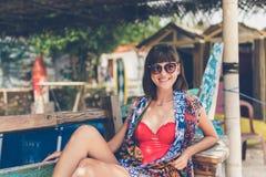 Young stylish sexy woman on the beach Pandawa, tropical and magic island of Bali, Indonesia. Royalty Free Stock Image