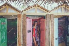 Young stylish sexy woman on the beach Pandawa, tropical and magic island of Bali, Indonesia. Royalty Free Stock Photo