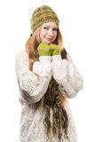 Young stylish smiling blonde woman in variegated melange knitted Stock Photos