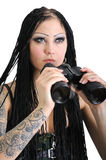 Young stylish woman with binoculars Stock Photography