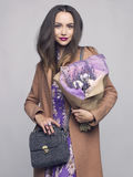 Young stylish woman with bouquet of lavender Royalty Free Stock Photos