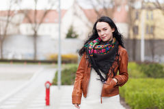 Young stylish woman in a city royalty free stock photo