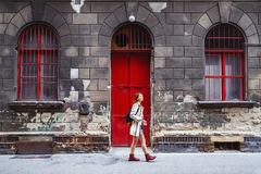 Young stylish woman in Europe. Budapest, Hungary. Travel Art Lif Stock Photo