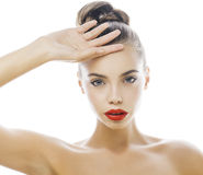 Young stylish woman with fashion make up and Royalty Free Stock Photos