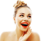 Young stylish woman with fashion make up and hairstyle isolated on white posing red lipstick elegant spa Royalty Free Stock Photo