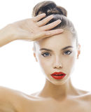 Young stylish woman with fashion make up and hairstyle isolated on white posing red lipstick elegant spa Royalty Free Stock Image