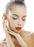Young stylish woman with fashion make up and hairstyle isolated on white posing red lipstick elegant spa Stock Image