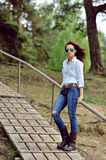 Young stylish woman outdoor fashion portrait Royalty Free Stock Photo