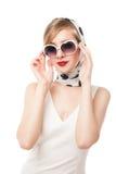 Young stylish woman posing, retro styling Royalty Free Stock Photos