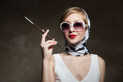 Young stylish woman posing, retro styling Stock Image